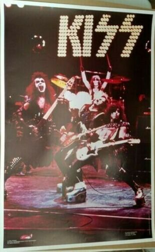 KISS VINTAGE 1975 75 ALIVE! ACE PETER GENE PAUL NOS AUCOIN MGT LIVE POSTER NICE