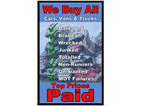 SCRAP CARS AND VANS WANTED - BEST PRICES - CASH ON.COLLECTON WITHIN.THE HOUR
