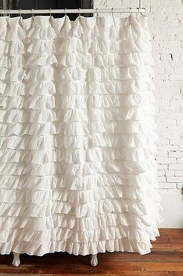Ruffle Fabric Shower Curtain  Waterfall