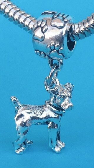 Adorable Rat Terrier 3D Dangle Charm on Pawprint Bail ( Clearance )