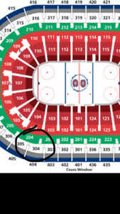 billets canadiens saison 2019-2020 section 304BB en bas du cost