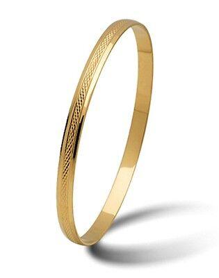 Armreif aus Gold 585 - Massiv - Höchste Qualität - Breite 5mm mit Muster Ø 60-72
