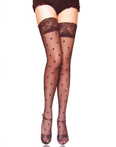 Black Polka Dot Stockings with Lace tops,thigh highs,sexy,fun,fashion.
