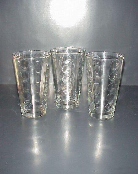 Libbey Drinking Glasses Tumblers Dots Circles Rain Set 3