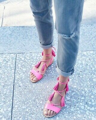 Loeffler Randall Saffron Tassel Ankle Wrap Black Leather Flat Sandals 8