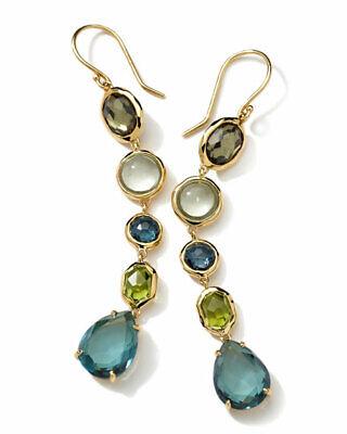NEW! $1495 Ippolita 18K Gold London Blue Topaz Earrings - Tartanset Rock Candy