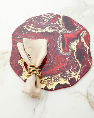 KIM SEYBERT Lot of 3 Cosmos Placemats Red/Gold - Neiman Marcus Edition - BNWT