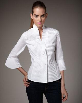 Go Silk Black High Fashion Ruffle Pleated Stand Collar Shirt black blouse XS 0 2