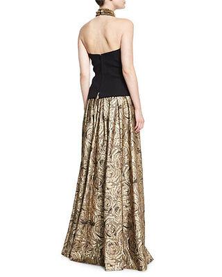 Carmen Marc Valvo Wedding - Carmen Marc Valvo Collection Gold Floral Evening Formal Wedding Maxi Skirt Sz.6