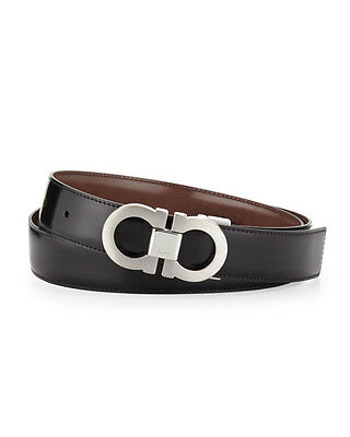 Salvatore Ferragamo Double Gancini Reversible Calfskin Leather Belt $440 Sz (Reversible Double Gancini Calfskin Leather Belt Salvatore Ferragamo)
