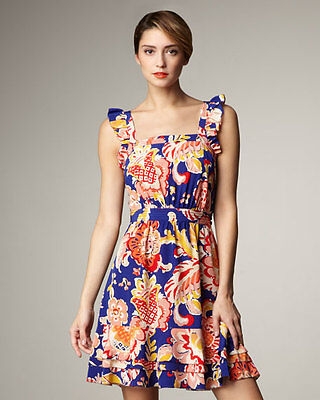 Tory Burch Blue Wildflower Aloisa Dress Size  6  Floral  M