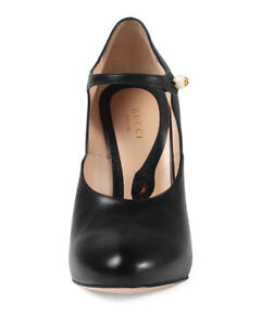Gucci Lesley Leather Mary Jane Pumps, Black (size 8.5)