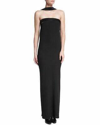 Tom Ford Reverse Halter Black Silk Dress 40 4 Red Carpet Runway Evening Gown NEW