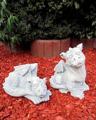 Gartenfiguren Set, 2 x Drachen, Steinguss, Skulpturen, Statuen, Gartendekoration