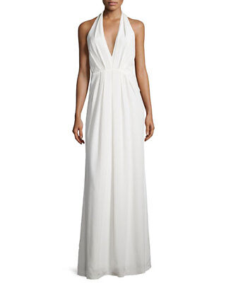 JILL STUART ~ Ivory Matte Charmeuse Deep V Halter Evening Gown 8 NEW $328