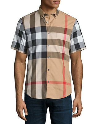 Burberry Brit Mens Fred Camel Short Sleeve Button Down Exploded Check Shirt S M