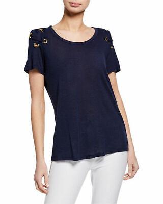NWT MICHAEL Michael Kors Grommet Laced Shoulder Scoop-Neck T-shirt True Navy M S