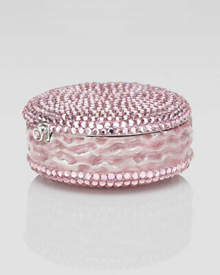 Judith Leiber PillBox pill box Pink Silver Tone Macaroon Crystal NEW NIB
