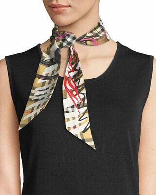 Burberry Scribble Graffiti Check Beige Print Silk Twill Reversible skinny Scarf
