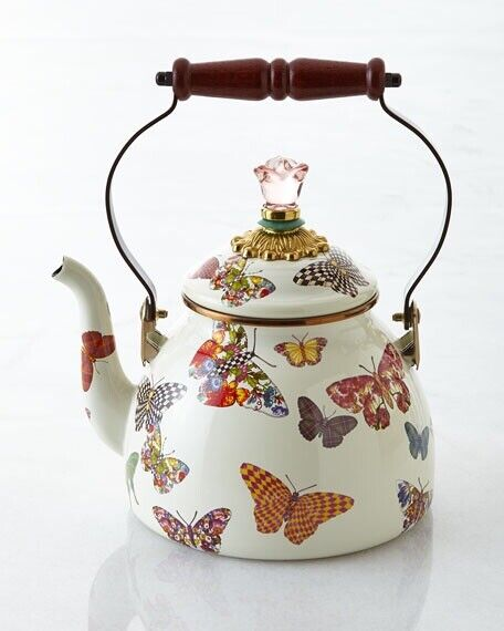 MacKenzie-Childs Butterfly Garden Enamel Tea Kettle, 2-Quart NEW