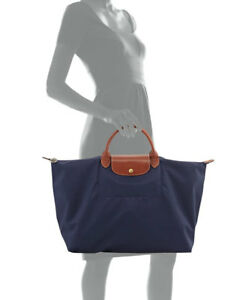 Longchamp Le Pliage Navy Blue Canvas Foldable Shoulder Tote Bag.
