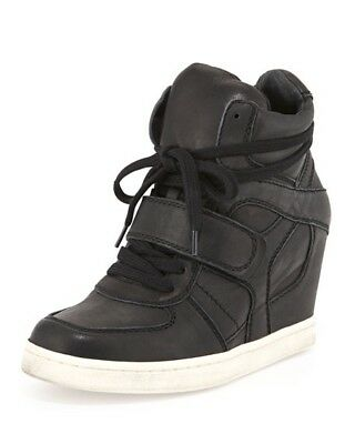 ASH Cool Ter Wedge Leather Lace-Up Sneakers Size 35 US 5 Black