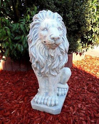 Gartenfiguren, Löwenfigur links schauend, Löwen, Steinguss, 53 cm, Gartendeko