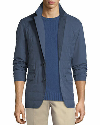 Loro Piana New Cloudy Quilted Blazer Jacket Storm System Men's Size Large Blue
