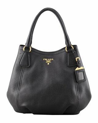 100%Authentic PRADA Vitello Daino Shoulder Tote Handbag Black Orig.Price (Prada Handbag Price)