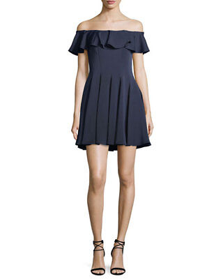 NEW La Femme Off-the-Shoulder Fit-and-Flare Mini Cocktail Dress Navy SZ10 (Off The Shoulder Fit And Flare Cocktail Dress)