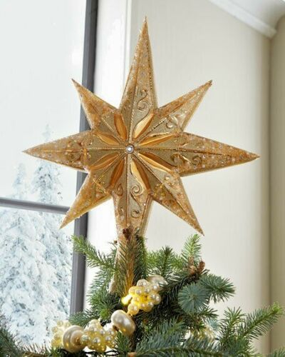 New Christopher Radko Champagne Stellar Glass Christmas Tree Topper - Finial