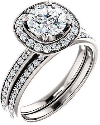 GIA 1.01 carat Round Diamond Engagement Wedding 14k White Gold Halo Ring F VS1