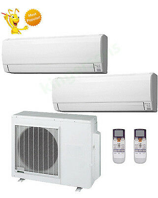 24000+24000 Btu Fujitsu Dual Zone Ductless Wall Mount Heat Pump Air Conditioner