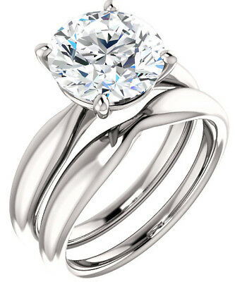 GIA 3.01 ct Round Diamond Engagement Solitaire 14k White Gold Ring G SI2 clarity