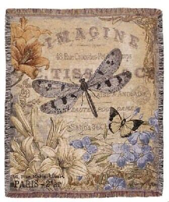 Butterfly Throw (New Dragonfly Butterfly Among Flowers Imagine Afghan Tapestry Throw Blanket)