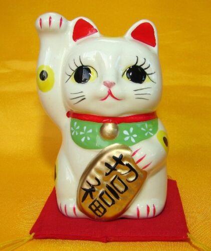 White Japanese Pottery Maneki Neko Beckoning Money Right Hand Up Lucky Cat