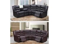 New corner sofa recliner leather Roma with drink holder black and brown