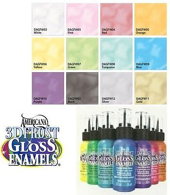 DecoArt 3D FROST GLOSS ENAMEL Glass Paint WRITERS 2 oz ~ PICK YOUR COLOR (Frosted Glass Paint)