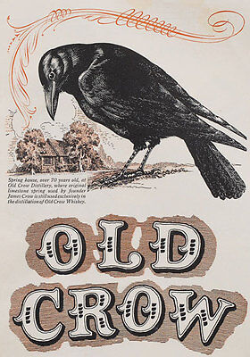 AD50 Vintage Old Crow Whiskey Drink Advertising Advertisment Poster A4 Re-print