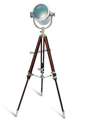 VINTAGE DESIGNER FLOOR SEARCHLIGHT SPOTLIGHT WITH HEAVY TRIPOD STAND LAMP