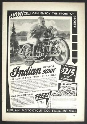 1939 Indian Junior Scout Motorcycle vintage Ad