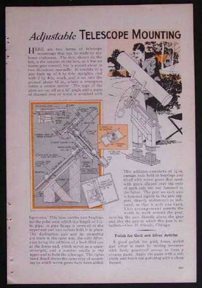Equatorial TELESCOPE Mount 1932 How-To build PLANS Pipe parts