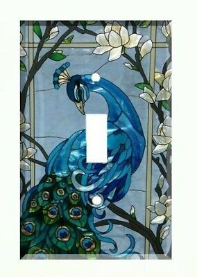 Blue Peacock Light Switch Cover Plate Wall Cover Peacock Stained Glass (style) ()