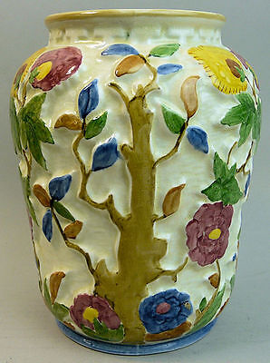 A LARGE H.J. WOOD INDIAN TREE ART DECO POTTERY VASE