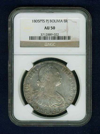 BOLIVIA SPANISH COLONIAL CHARLES IV  1805-PJ 8 REALES COIN CERTIFIED NGC AU50