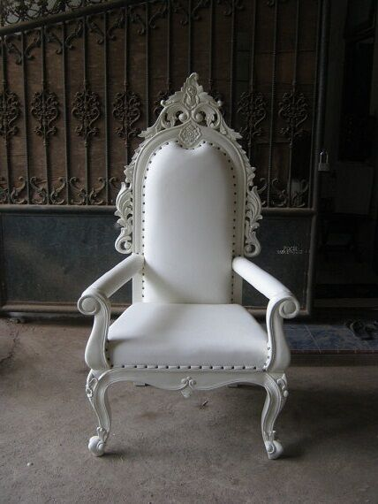 2 Brand New Ankara Throne Chairs Wedding His Hers Chair White Ivory Ornate Baroque Rococo
