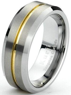 Tungsten Carbide Mens Wedding Band Ring Brushed Finish Beveled Edges Gold plated Brushed Finish Beveled Edges