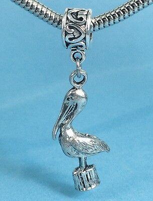 Pelican Lovers 3D Pewter Dangle Slider Charm fits European Bracelets or Necklace