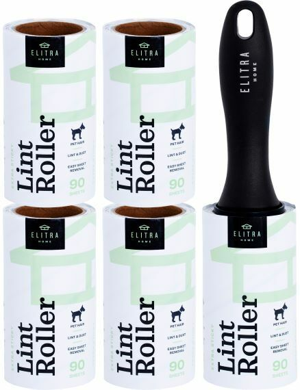 Elitra Extra Sticky Lint Roller Lightweight Handle + 4 Refill Packs (450 Sheets)