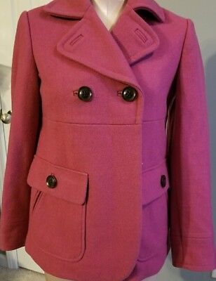 Gap Size S Small 4 6 Double Breasted Pink Wool Winter Cropped Pea Coat Womens ()